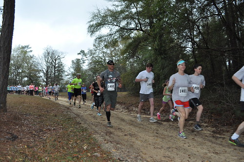 Runners are on a forest trail for the 2016 Dixon Legend off-road race at the Solon Dixon Forestry Education Center in Andalusia.