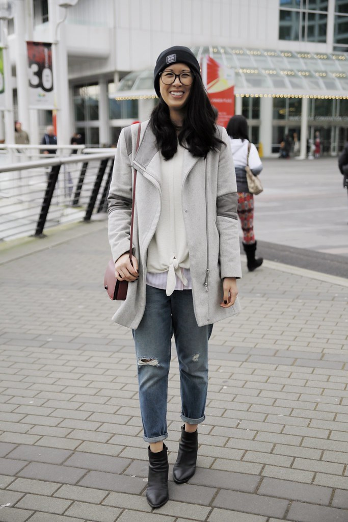 J.Jill mixed button down with boyfriend jeans and knot front sweater