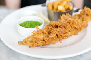 Extraordinary Fish & Chips - Day-boat Cornish fish, chips, mushy garden peas with a hint of mint, and tartar sauce | by City Foodsters