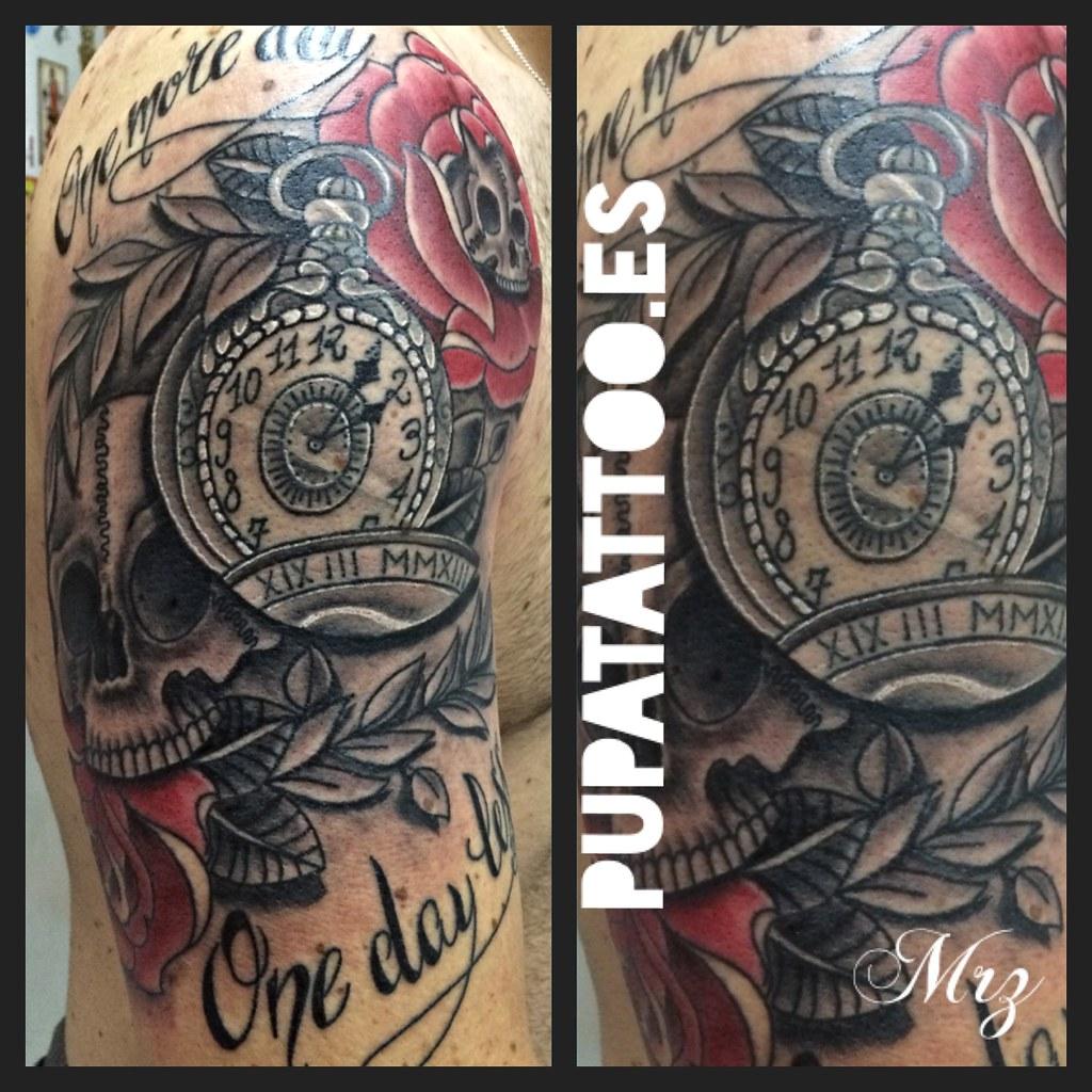 Tatuaje Calavera Reloj Pupa Tattoo Granada Pupa Tattoo Art Flickr