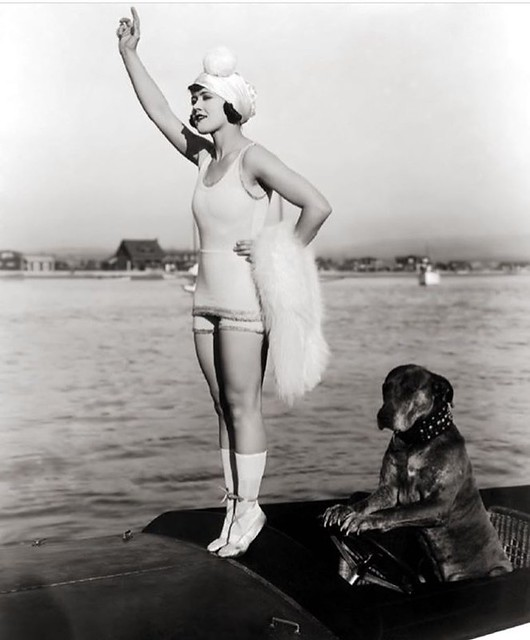 Gloria Swanson and dogfriend, 1917. I'm thinking about painting her next. Difficult part will be choosing which picture!