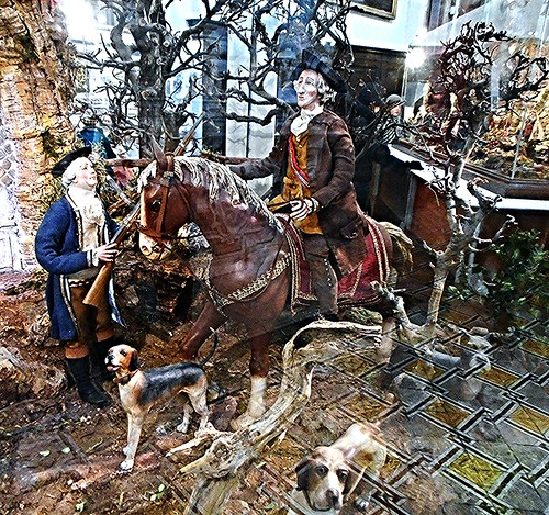 """The King at wild-boar hunting"" - Modern statuettes with clothes, for crib (18th century style) - Temporary exhibition in Naples 