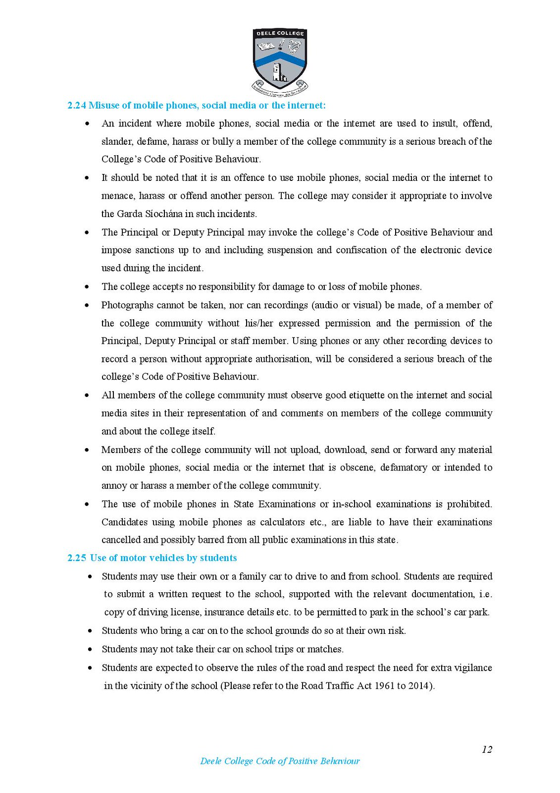 Deele College Code of Positive Behaviour Booklet 2016-page-012