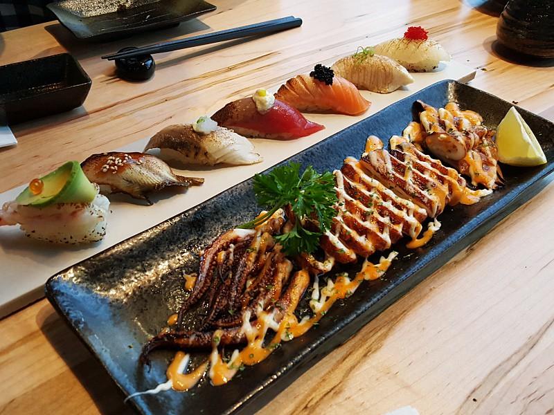 Aburi Nigiri and Grilled Squid Le Modern Japanese