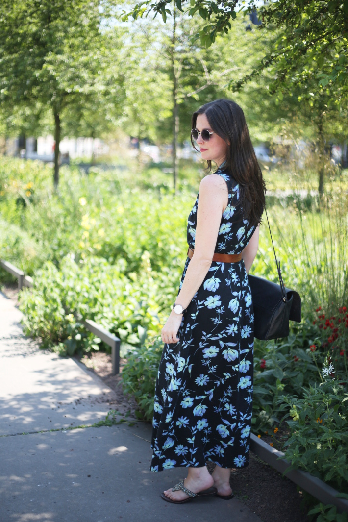 outfit: vintage floral button through maxi dress