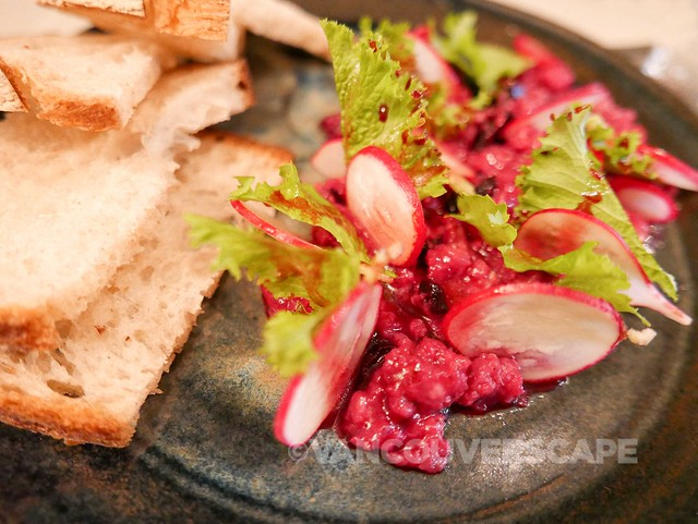 Grapes and Soda: Organic beef tartare, beets, berries, cubeb pepper, mustard greens