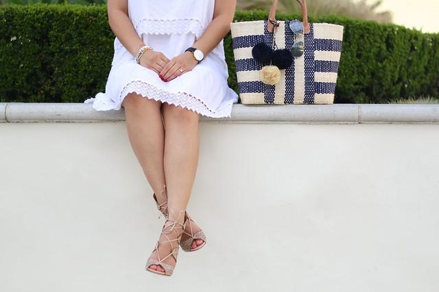 simplyxclassic, fashion blogger, lwd, little white dress, shop mar y sol, marysol bag, boohoo dress, schutz lace up, lace up heels, mommy blogger, fashion blogger, orange county, hyatt hotel, hyatt huntington beach california