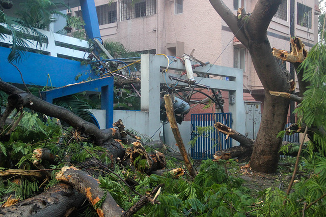 Electric cables, transformers and lamp posts are in disarray across most parts of the city. Power supply is yet to be restored in many parts given the colossal damage to infrastructure. Scene outside an apartment complex at B Ramachandra Adithanar Road in Gandhi Nagar.