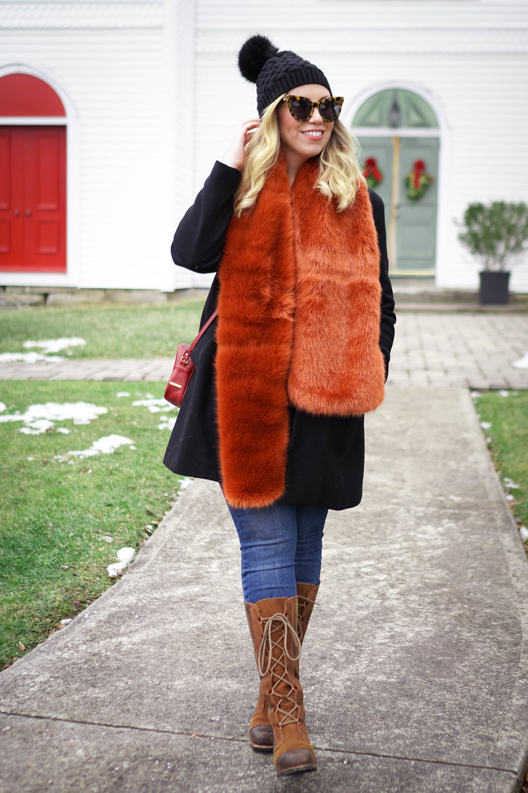 Burnt Orange Colored Faux Fur Scarf | Winter Outfit | Currently Obsessed with Faux Fur Scarves