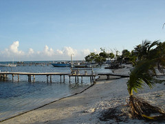 jetty and beach, caye caulker | by clurr