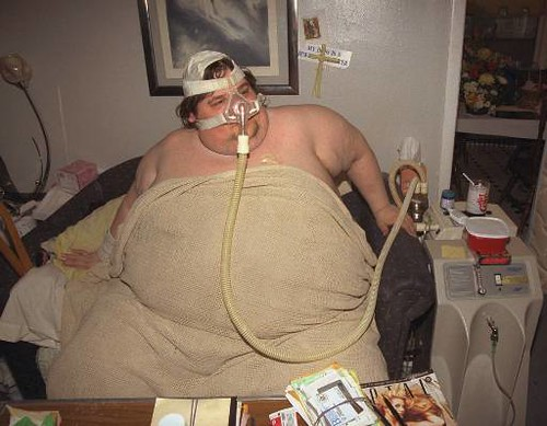 Fat Man Michael Hebranko 43 Sits In His Living Room In