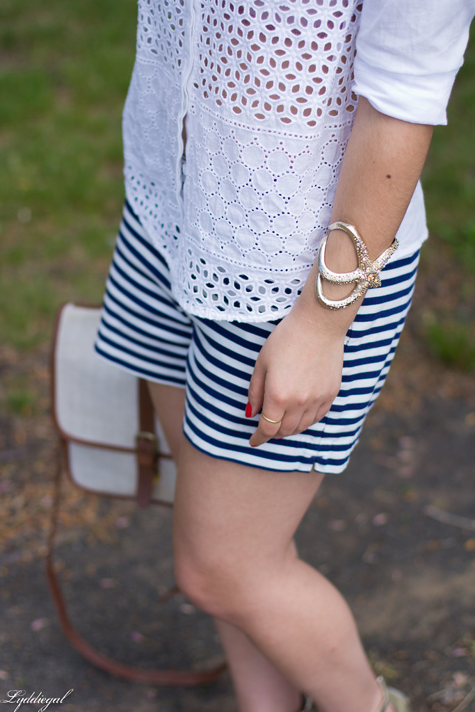 white eyelet shirt, striped shorts, starfish cuff, floppy hat-6.jpg