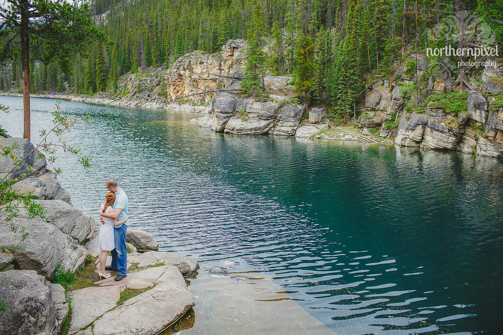 Vikki & Jonathan's Engagement Session Jasper Alberta Horseshoe Lake Elopement