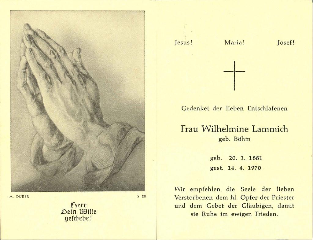 Totenzettel Böhm, Wilhelmine † 14.04.1970