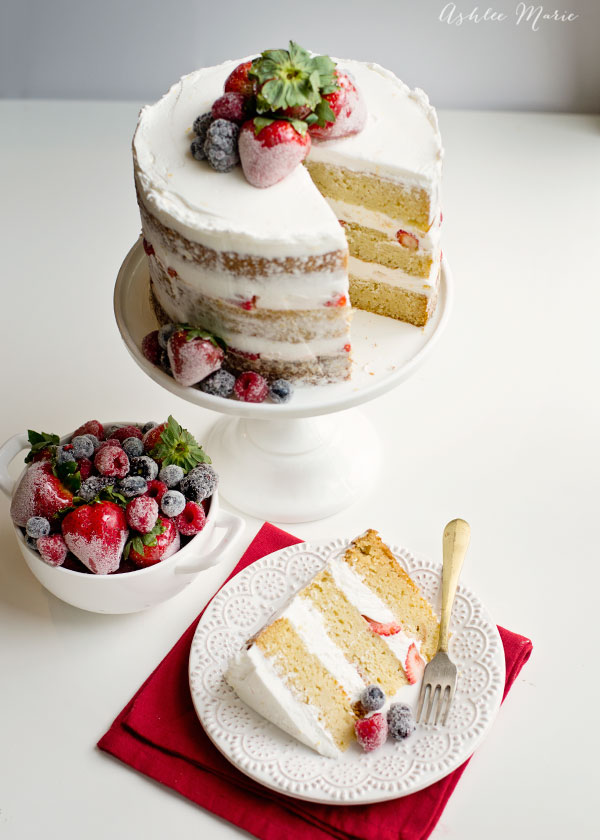 Vanilla bean cake, lemon buttercream and candied and sugared berries, the perfect summer cake