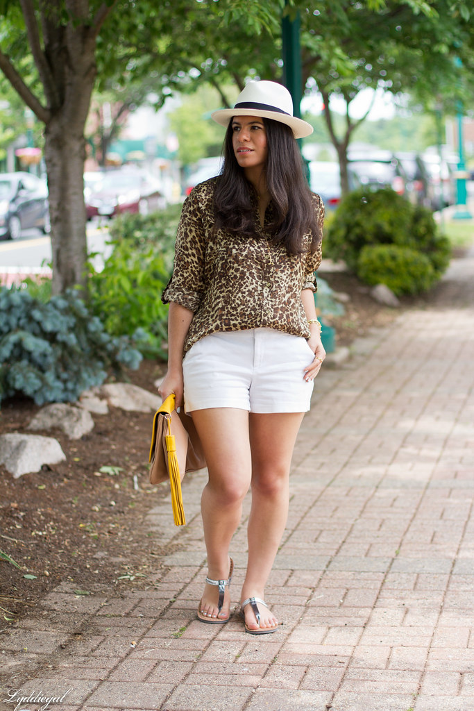 leopard shirt, white shorts, panama hat, kicksusa sandals-1.jpg