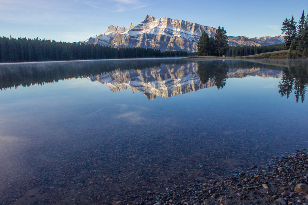 The reflection of Mount Rundle in Two Jack Lake, Banff