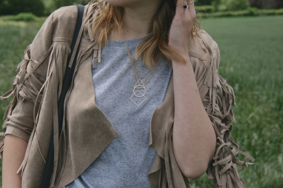 camel tasselled jacket