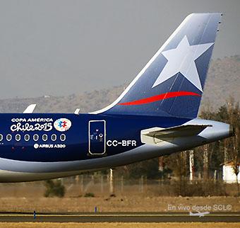 LAN A320 tail CC-BFR Copa America (RD)