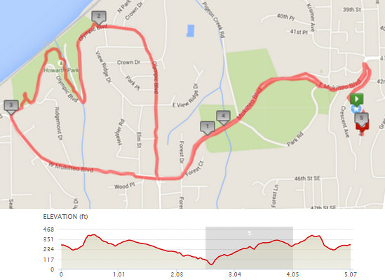 """Today""""s awesome walk, 5.07 miles in 1:43, 10,895 steps, 631ft gain"""