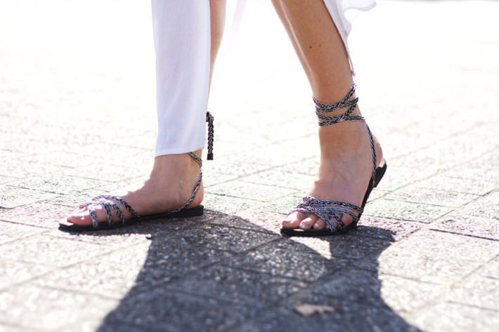 Outfit: white lace maxi dress with grecian sandals