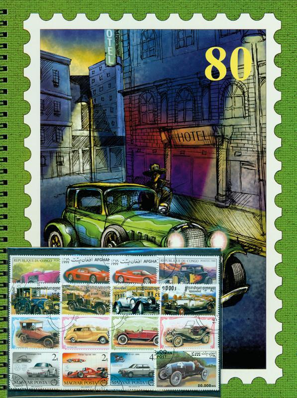 Tematický album A4 a 50 ks rôznych známok automobily