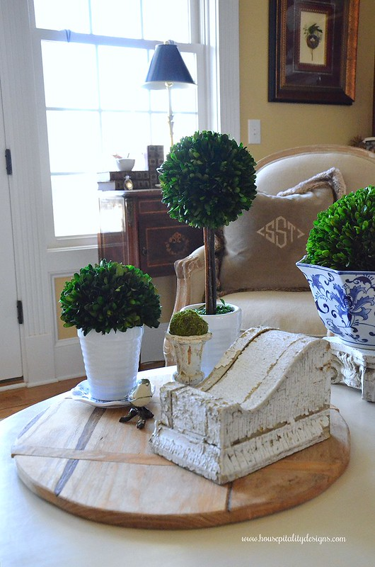 Coffee Table Vignette-Boxwood Topiaries-Housepitality Designs