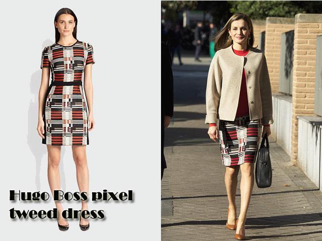 Queen-Letizia-of-Spain-in-Hugo-Boss-pixel-tweed-dress