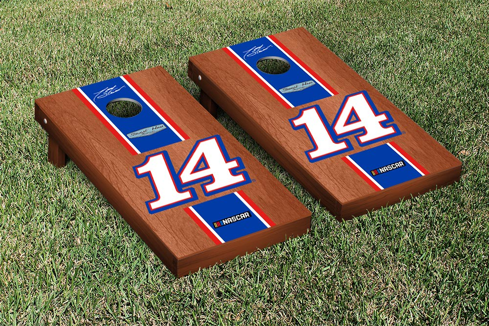 TONY STEWART #14 CORNHOLE GAME SET ROSEWOOD STAINED MOBILE STRIPE VERSION (1)