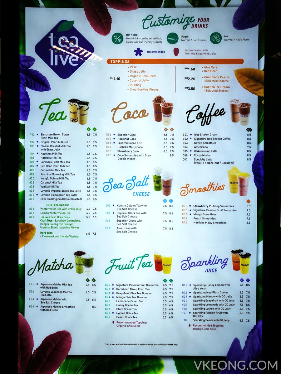 tealive menu