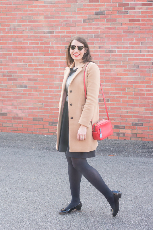 red crossbody purse + gray Merona argyle sweater + black skirt + camel wool coat; winter work outfit | Style On Target blog