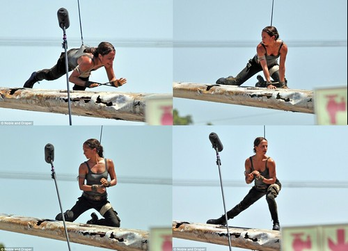 Alicia Vikander Lara Croft on set TOMB RAIDER 2