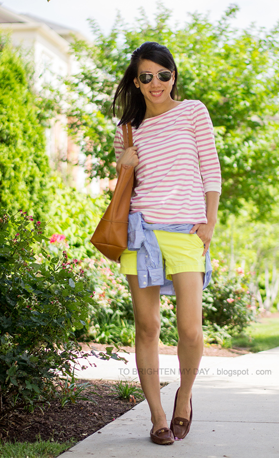 pink striped top, neon yellow shorts, blue striped shirt, brown loafers