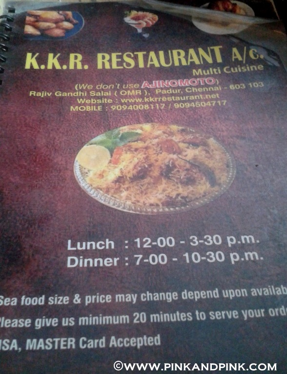 KKR Restaurant menu