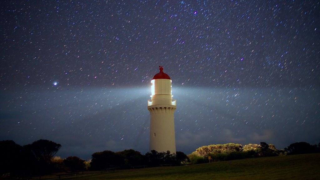 Cape Schanck Lighthouse and stars (2), July 2015   Long ...