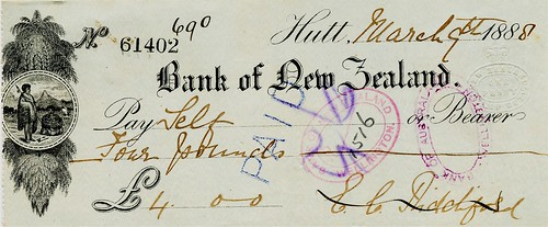 01 Bank of New Zealand Cheque 1888