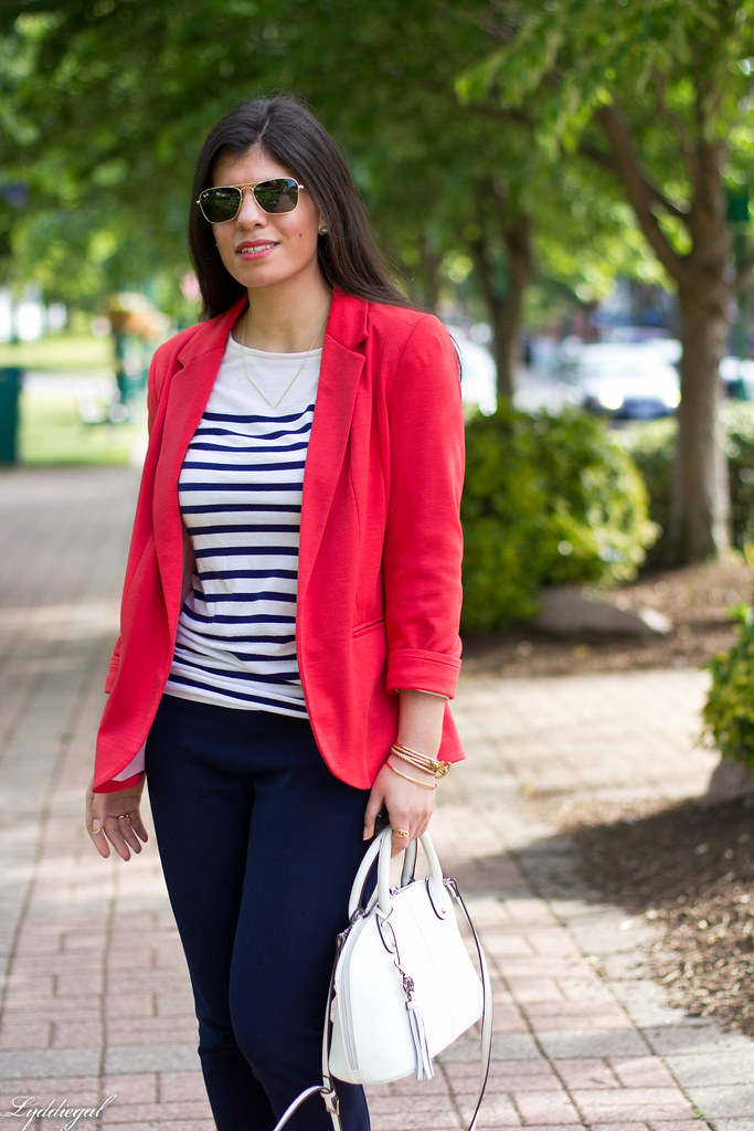 red blazer, striped shirt, navy trousers, white bag-1.jpg