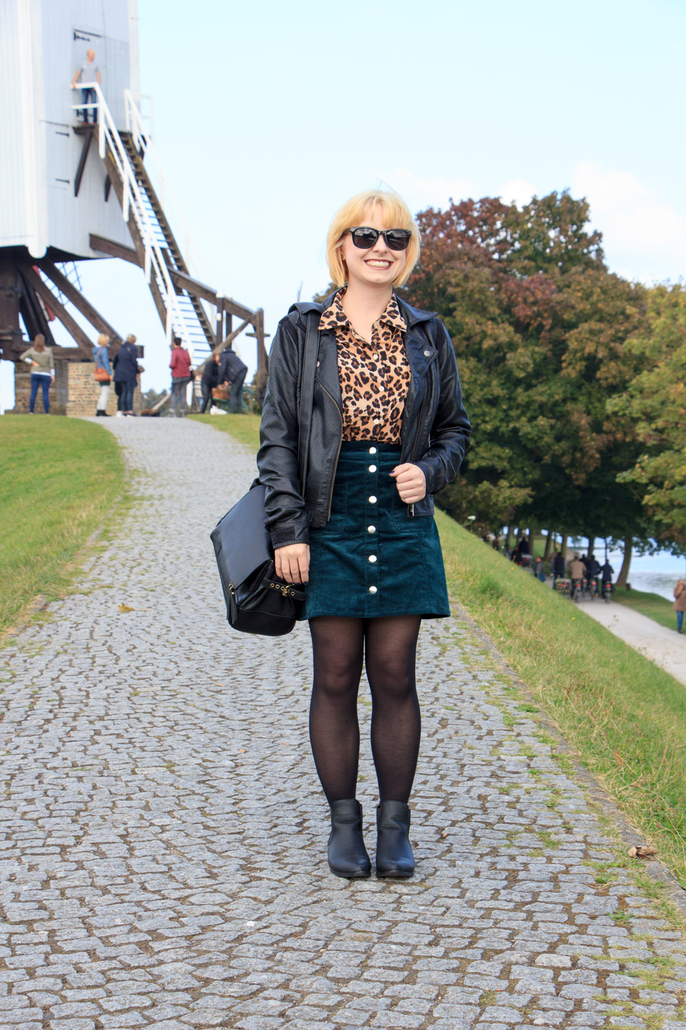 Silk Leopard Button Down, Faux Leather Coat, Green Button Down Skirt from H&M, Black Flat Boots