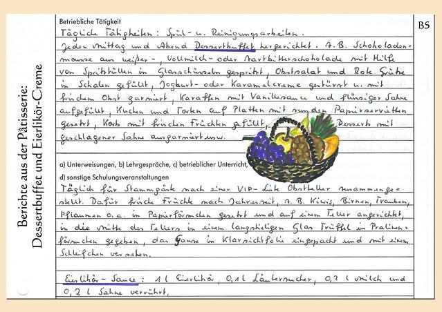 Berichtsheft_Ausbildungsnachweis_Ausbildung Köchin_1980er-Jahre_Rezepte und Illustrationen_Pâtissier_Saucier_Gardemanger_Entremetier ... Roman: Die Köchin - eine Groteske ... Brigitte Stolle, Mannheim