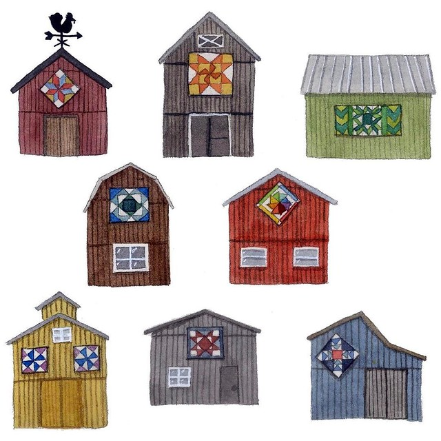 Day 21 #patternjanuary #folkart I decided to go with barn quilts and these were done in watercolor. My mom introduced me to barn quilts, and we attended a lecture and took a workshop last year on them. Did you know they are a relatively new (like since th