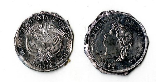 Colombian coins Trial Splash Designs ca.1887 by R.Laubenheimer