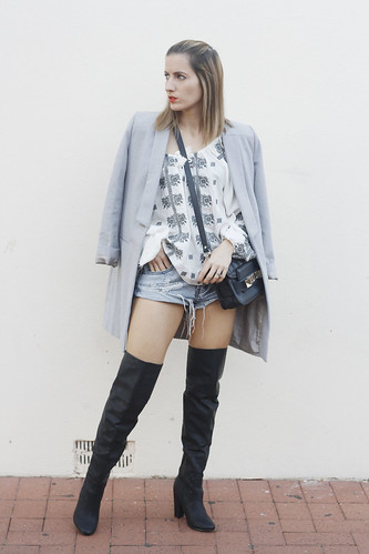 Grey Lioness Coat, Bohemian Traders top, Knee high boots