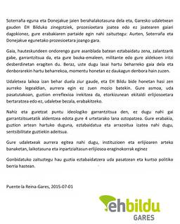 Ante la inmediatez del día de Soterraña y las Fiestas de Santiago, los concejales del grupo de EH Bildu en el Ayuntamiento de Gares, respecto al tema de la asistencia o no a las procesiones, queremos haceros partícipes de nuestra decisión: Este año, acud