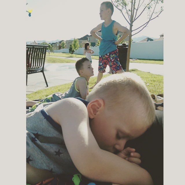 We finally went to the splash pad.  7:00 pm naps are the best!