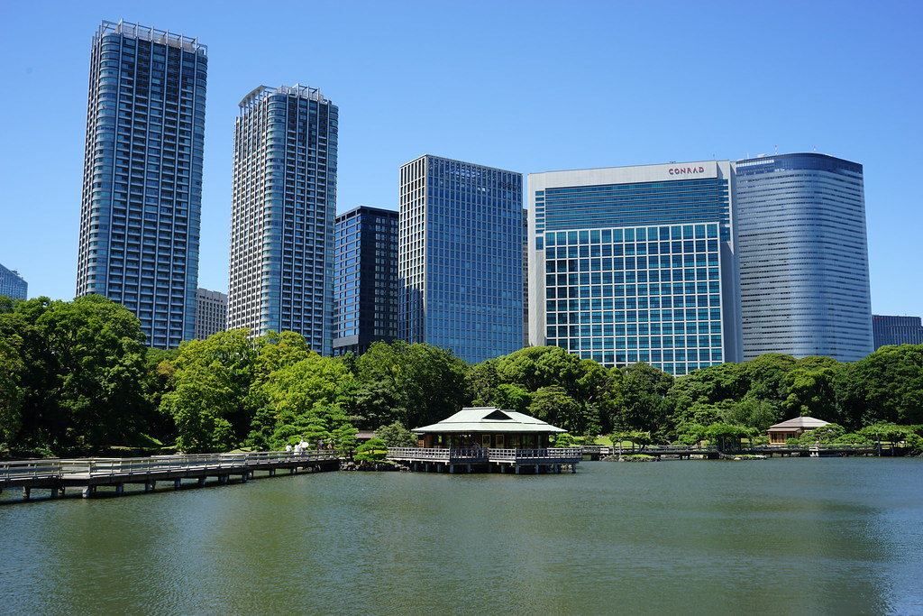 Hama Rikyu Gardens with Towers of Shiodome