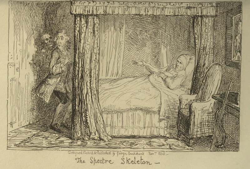 "George Cruikshank - ""The Spectre Skeleton"" Illustration from ""Letters On Demonology And Witchcraft"" by Walter Scott, 1830"