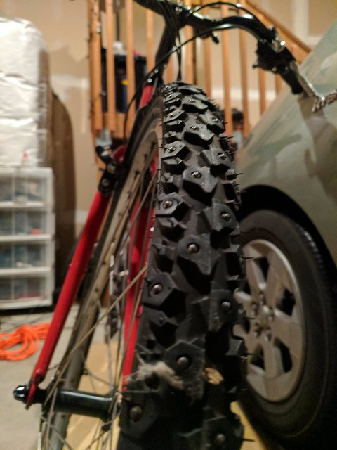 Snow Tires on Red Bike