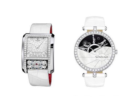 Left: Peter tanisman carrousel series classic wristwatch right: Van Cleef Albemarle luxury ladies watch