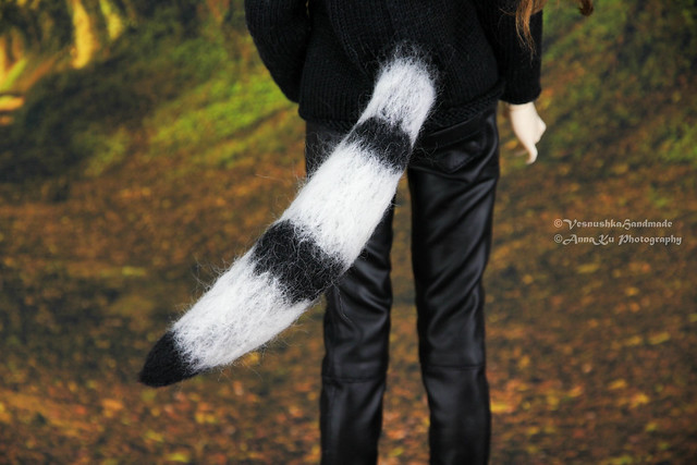 ears & tail) & Black scull outfit (jeans, sweater)