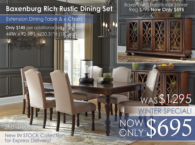 Baxenburg Rustic Dining Set & 6 Chairs D506